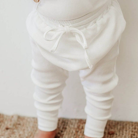 US stockist of Two Darlings milk rib cotton stretch harem jogger pants