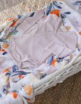 US stockist of Two Darling bamboo/organic sunshine floral baby swaddle