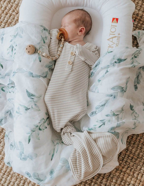 US stockist of Two Darlings rib cotton/jersey fawn stripe baby knotted gown