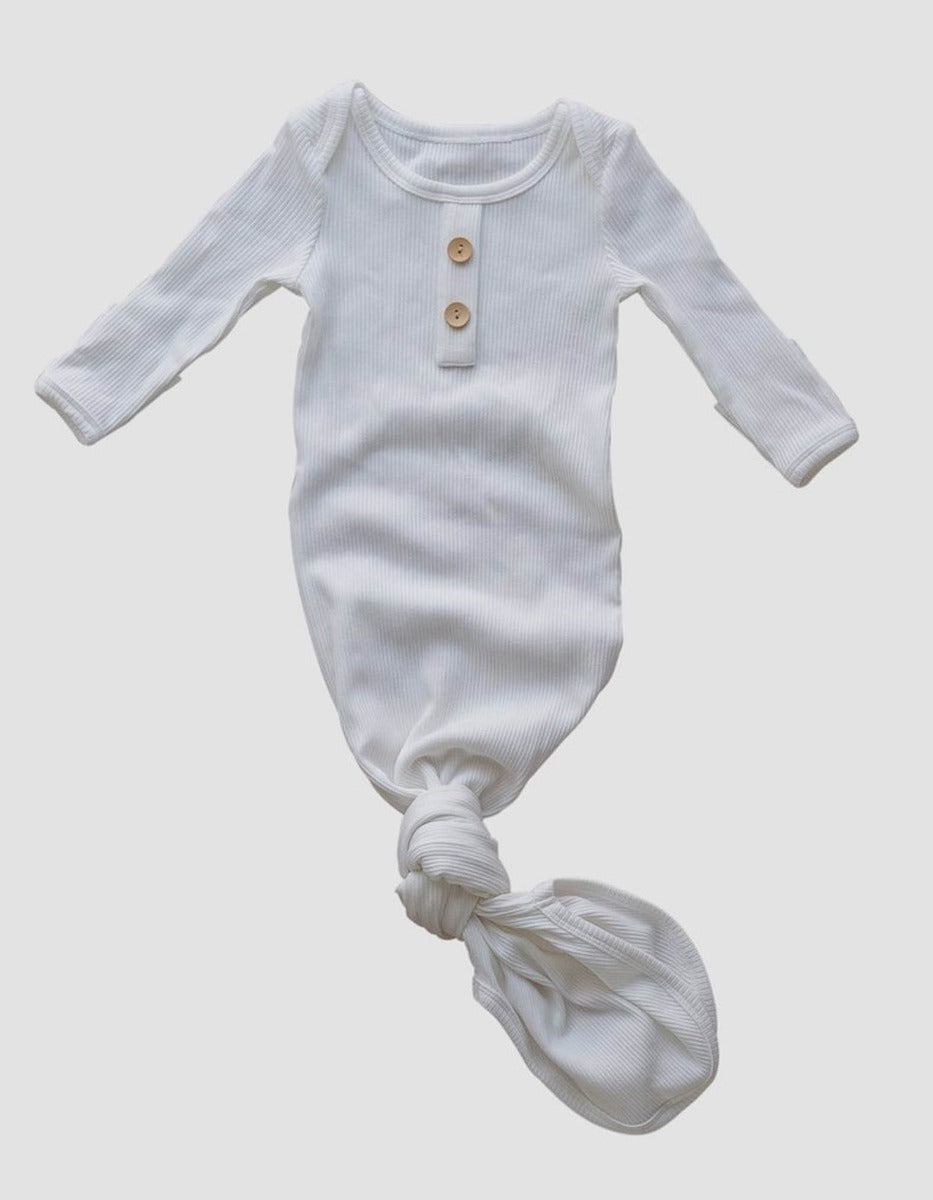 Milk Ribbed Jersey Baby Gown