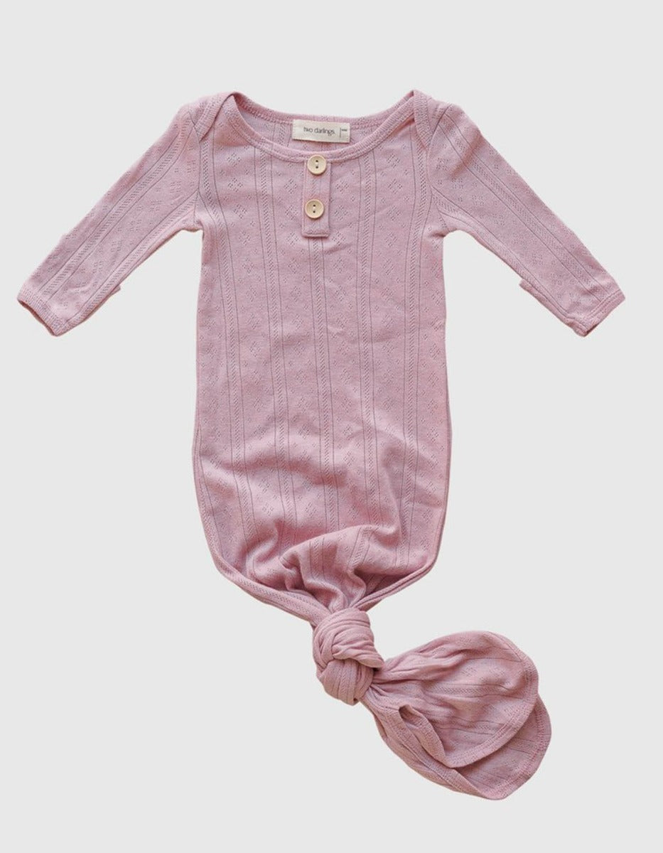 US stockist of Two Darlings rib cotton/jersey rose pink pointelle baby knotted gown