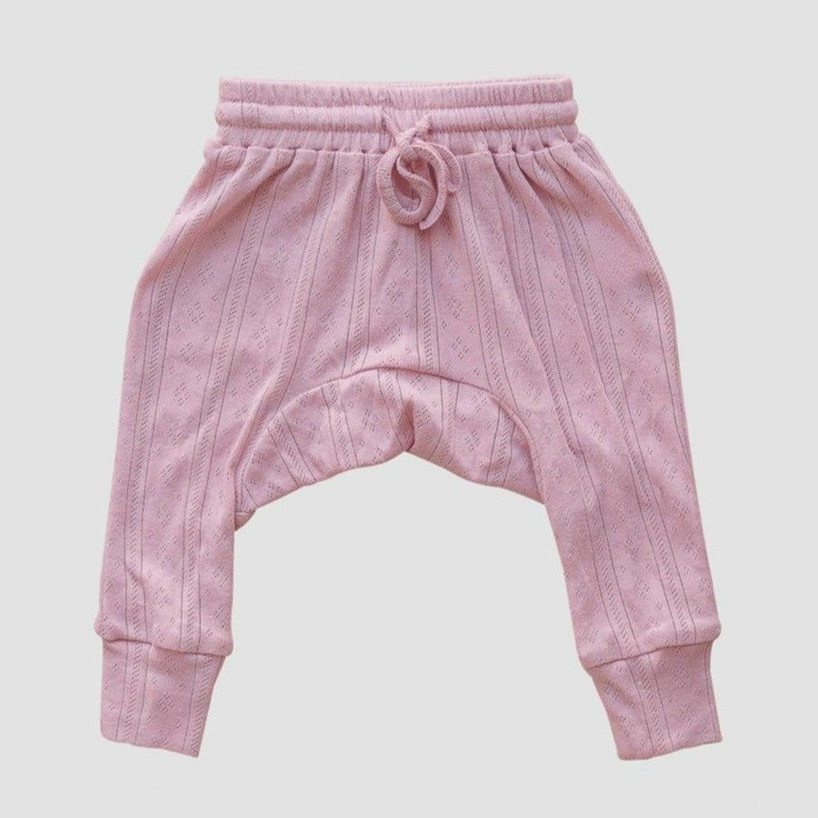 US stockist of Two Darling rose pink rib stretch cotton harem pants with delicate pointelle pattern