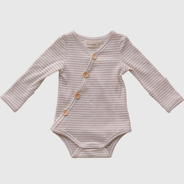US stockist of Two Darlings Fawn Stripe Rib Cotton Stretch Bodysuit