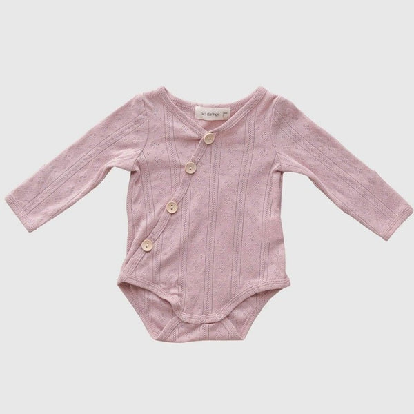 US stockist of Two Darlings Rose Pink Pointelle Rib Cotton Stretch Bodysuit