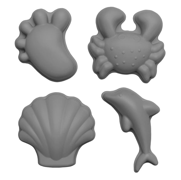 US stockist of Scunch.  Set of 4 sand moulds in cool grey made from silicone.  Comes with 1 footprint, 1 crab, 1 shell and 1 dolphin mould.