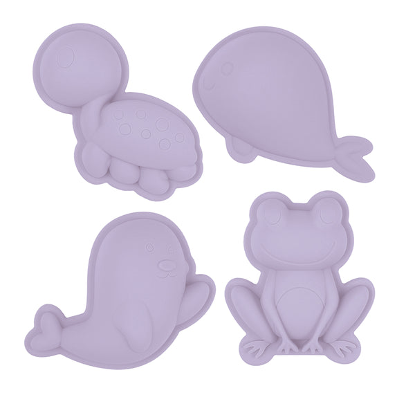 US stockist of Scunch.  Set of 4 sand moulds in light purple made from non-toxic food grade silicone.  Comes with 1 turtle, 1 whale, 1 frog and 1 bird mould.