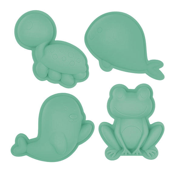 US stockist of Scunch.  Set of 4 sand moulds in mint made from non-toxic food grade silicone.  Comes with 1 turtle, 1 whale, 1 frog and 1 bird mould.