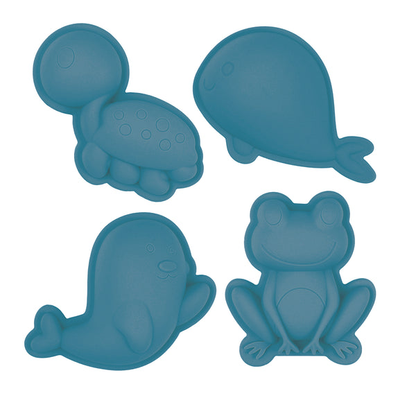 US stockist of Scunch.  Set of 4 sand moulds in blue  made from non-toxic food grade silicone.  Comes with 1 turtle, 1 whale, 1 frog and 1 bird mould.