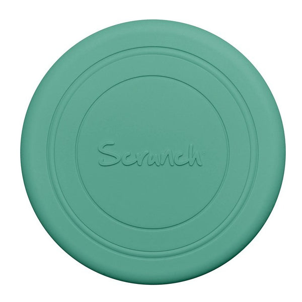 US stockist of Scrunch's recyclable Mint Green Flyer.  Made from soft, non-toxic food grade silicone, this frisbee can be squished, squashed, folded and rolled without ever losing its shape.