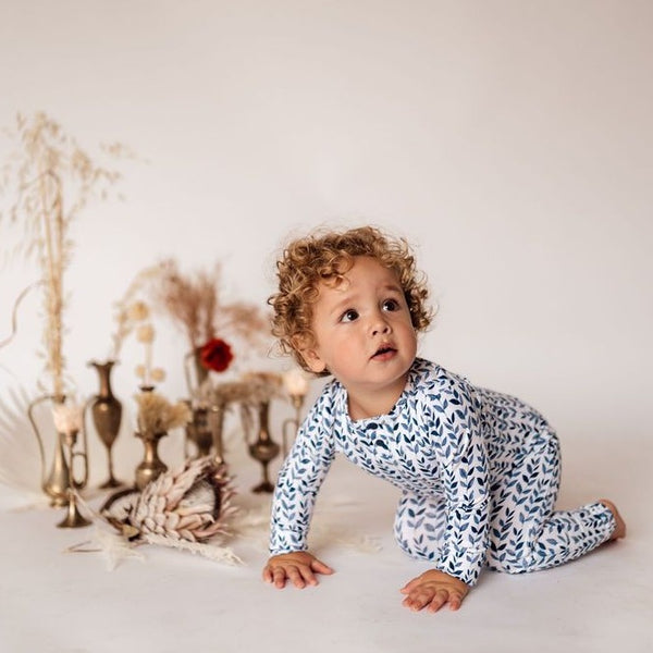 US stockist of Snuggle Hunny Kid's organic cotton jersey, nightshade zip footed sleeper.