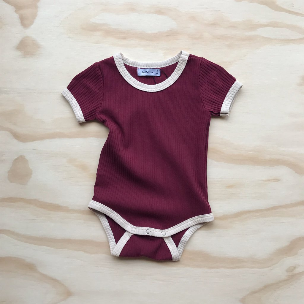 US stockist of ribbed cotton retro ringer bodysuit in berry