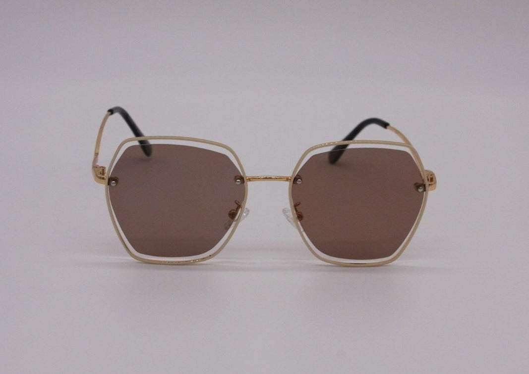 US stockist of Elle Porte's Harper sunglasses.  Features hexagon shaped brown lenses with gold frames, rated at UV 400