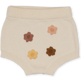 US stockist of Grown Clothing's organic cotton Flower Power bloomers in milk.  Made from 100% organic cotton with hand embroidered flowers in blush, yellow and tan on front. Features elastic waist and rib finish at legs.