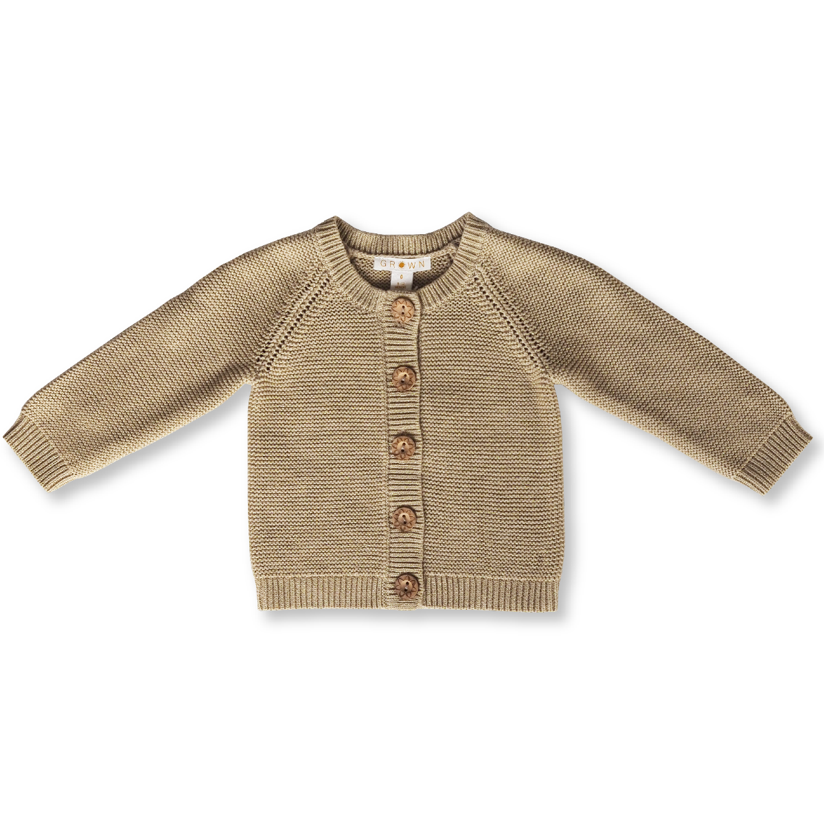 US stockist of Grown Clothing's organic cotton cardigan with gold lurex.  Beautiful wooden buttons featuring flower details.