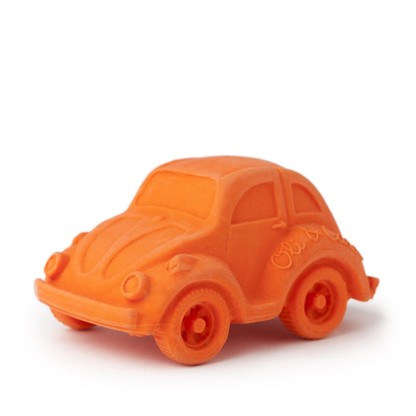 US stockist of Oli & Carol's small orange beetle bath toy made from 100% sustainable rubber.  Can also be used as a teether - has no holes, so no mold.