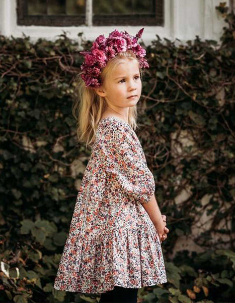 US stockist of Aubrie Anne of Avonlea raspberry pandora voile floral dress.