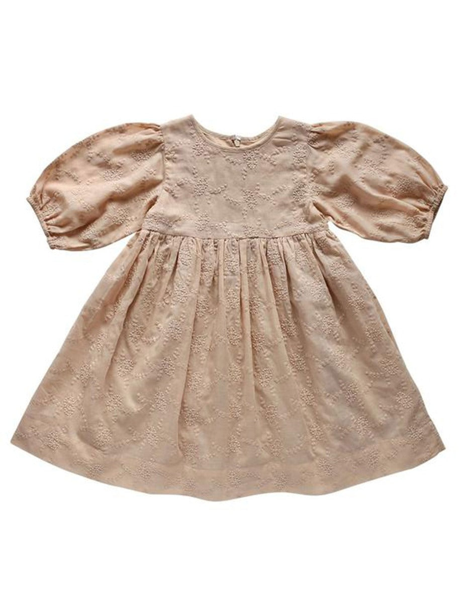 US stockist of Aubrie chai wisteria broderie anglaise Brigetta dress.