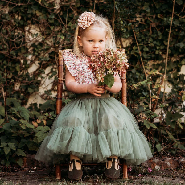 US stockist of Aubrie Romantic Ruffle Basil Tulle Tutu Skirt
