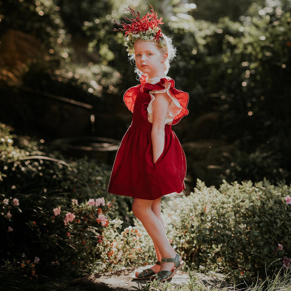 US Stockist of Aubrie Mabel Pinafore Dress in Cherry Velvet Cord