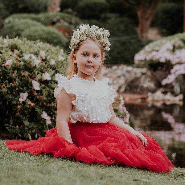 US stockist of Aubrie Romantic Ruffle Tutu Skirt in Cherry Tulle