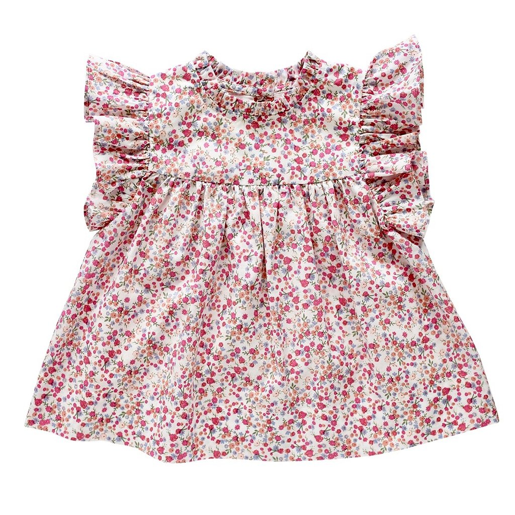 US Stockist of Aubrie Sakura Smock Top in Forget Me Not Floral
