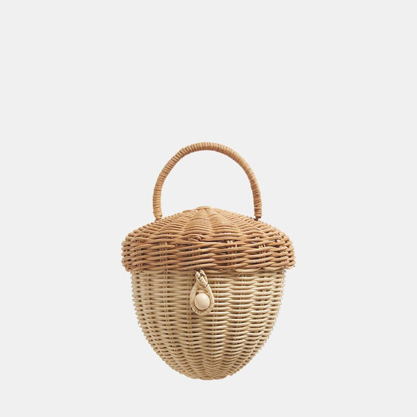 US stockist of Olli Ella's handmade rattan acorn bag.