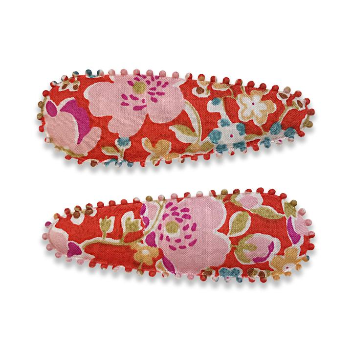 US stockist of Josie Joan's Adeline hair clip set. Gorgeous red fabric slide hair clips with contrasting pink and blue flowers.