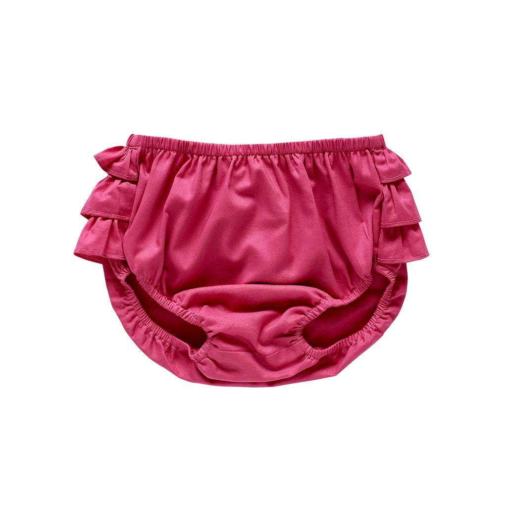 US Stockist of Aubrie Raspberry Cotton Voile Ruffle Butt Bloomers