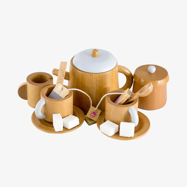 US stockist of Make Me Iconic's 13 piece wooden tea set.  Contains teapot with lid, 2 cups and saucers, 1 creamer, 1 sugar bowl with lid, 2 tea bags and 4 sugar cubes.