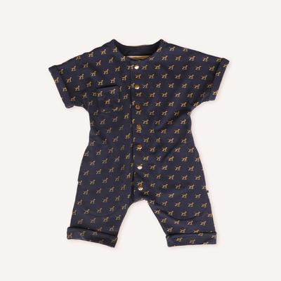 US stockist of My Brother John's gender neutral, navy blue Buddy roll up romper with mustard puppy print.  Made from stretch cotton jersey, arms and legs can be rolled up.  Buttons down the front.