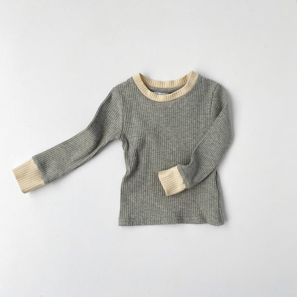US stockist of Bel & Bow's gender neutral grey marle ribbed cotton top.  Has contrasting ribbed neckline and cuffs.
