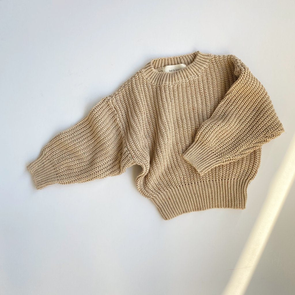 US stockist of Bel & Bow's gender neutral chunky knit sweater in speckle biscuit.  Made from super soft cotton.