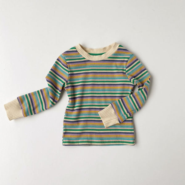 US stockist of Bel & Bow's retro, gender neutral blue stripe ribbed cotton top.  Has contrasting ribbed neckline and cuffs.