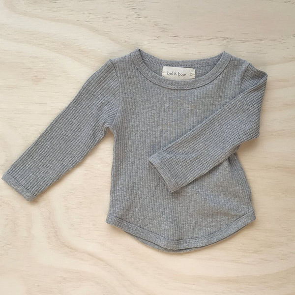 US stockist of Bel & Bow's grey marle long sleeve ribbed cotton top with curved hem.