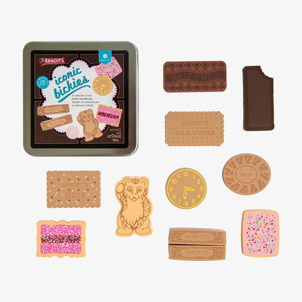 US stockist of Make Me Iconic's Australian Arnott's biscuit tin.  Contains 10pc wooden pretend play biscuits; perfect for tea parties.