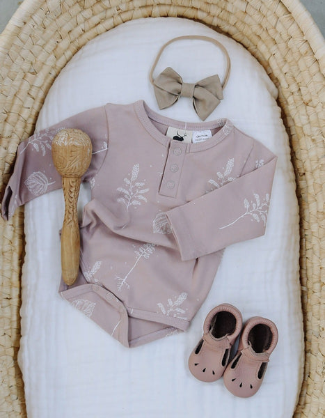 US stockist of Buck & Baa shadow pink organic cotton henley bodysuit/onesie