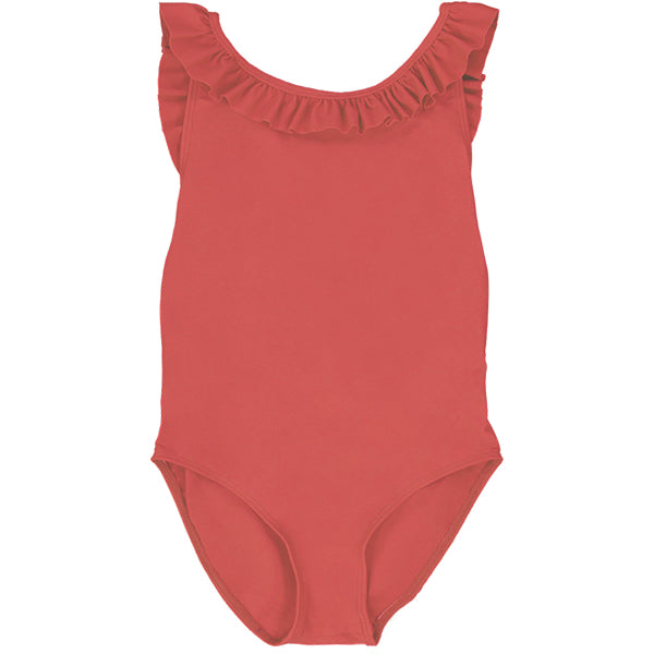 US stockist of Canopea's Grenada Red Alba ruffle neck and cross back swimsuit made from recycled UPF50 fabric.