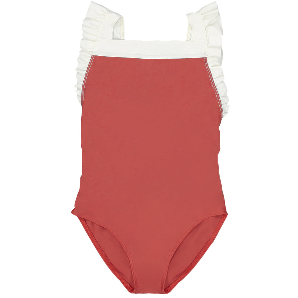 US stockist of Canopea's girls onepiece swimsuit in Grenada Red.  White ruffle straps, square neckline; made from recycled UPF 50 fabric