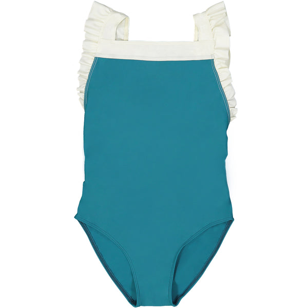 US stockist of Canopea's girls onepiece swimsuit in Bari Green.  White ruffle straps, square neckline; made from recycled UPF 50 fabric