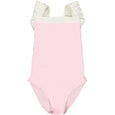 US stockist of Canopea's girls onepiece swimsuit in Dragee Pink.  White ruffle straps, square neckline; made from recycled UPF 50 fabric