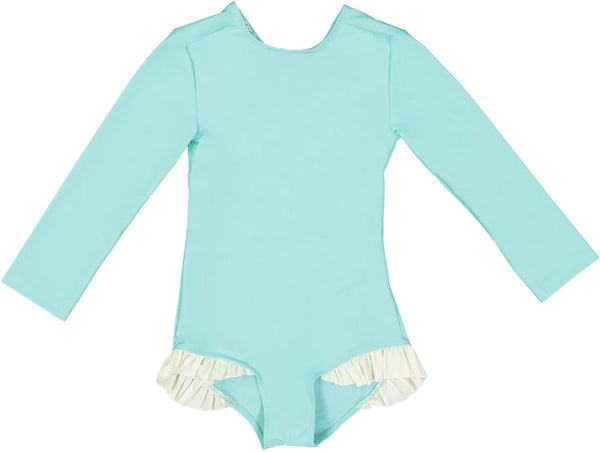 US stockist of Canopea's long sleeve Aqua UPF 50+ sunsuit with cache coeur back and cream ruffles at thighs.