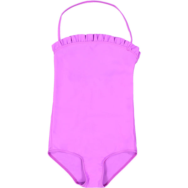 US stockist of Canopea's Orchid halterneck swimsuit with ruffle at neck and back.  Made from recycled UPF 50 fabric.