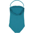 US stockist of Canopea's Bari Green halterneck swimsuit with ruffle at neck and back.  Made from recycled UPF 50 fabric.