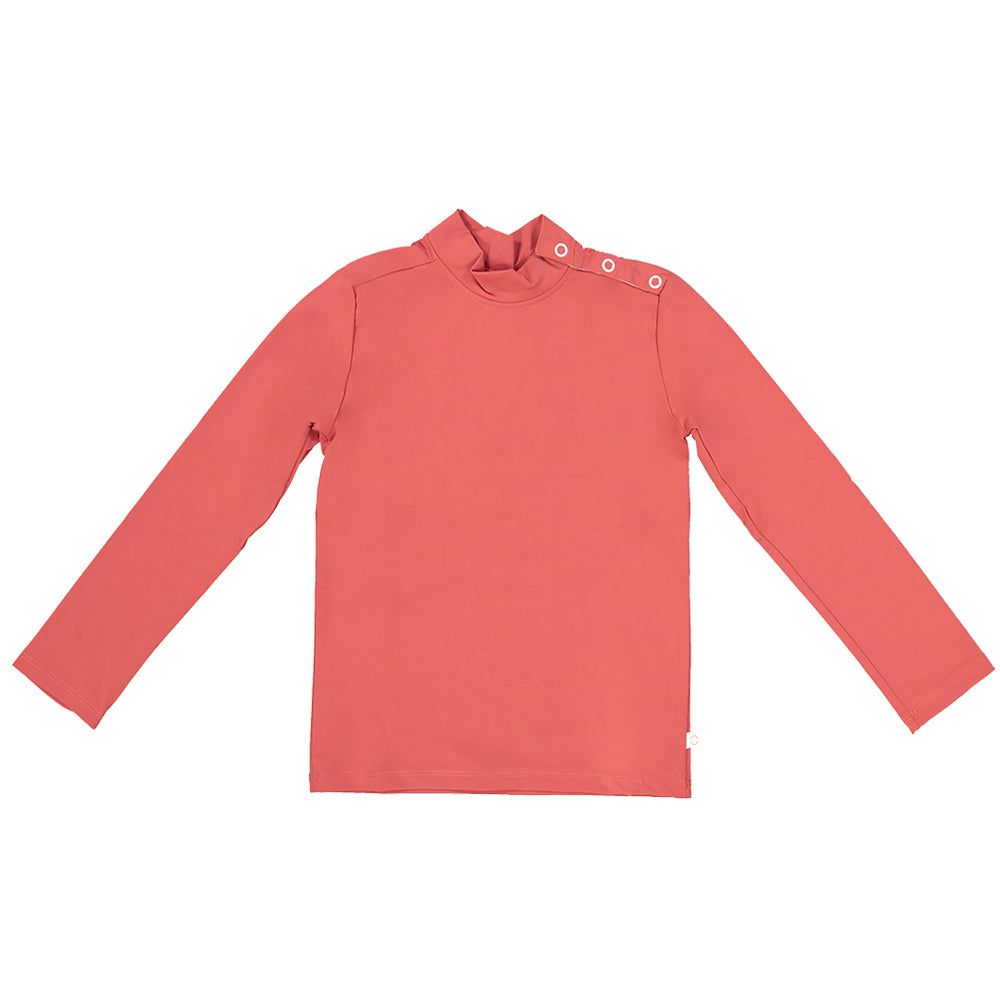 US stockist of Canopea's gender neutral, Grenada Red long sleeve rash top made from recycled UPF 50+ fabric.