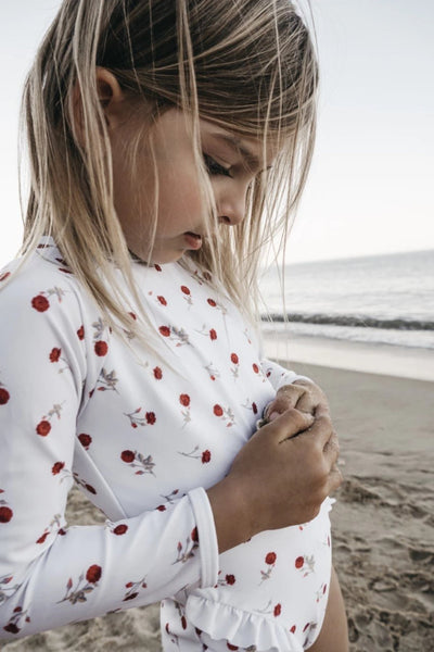 US stockist of CoCove Swim Long Sleeve White Bel Rashsuit with red 65 rose print