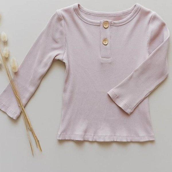 US stockist of Two Darlings musk pink cotton/modal long sleeve t-shirt