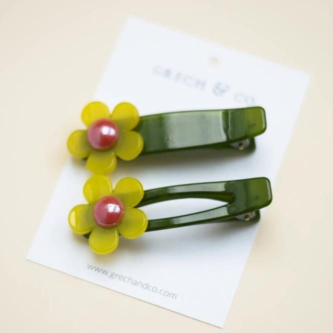 US Stockist of Grech & Co 2Pc Flower Child Hair Clip in Lime Green + Hunter Green