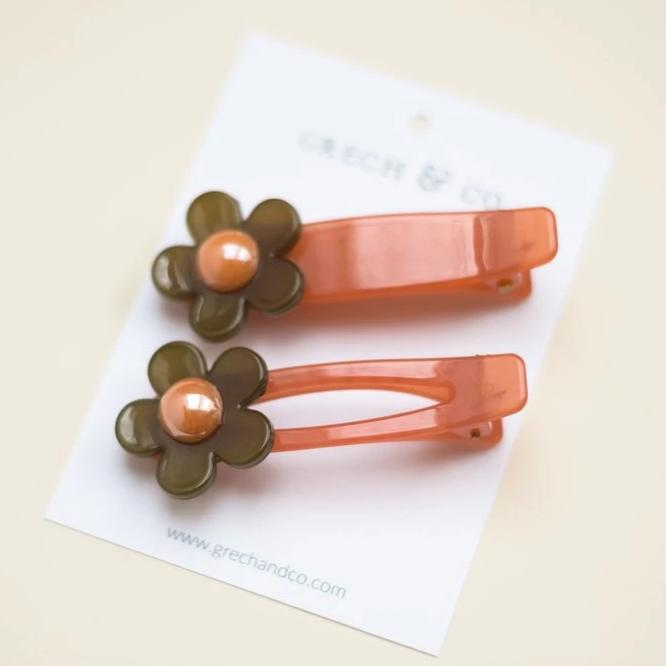 US Stockist of Grech & Co 2Pc Flower Child Hair Clip in Chocolate Brown + Blush