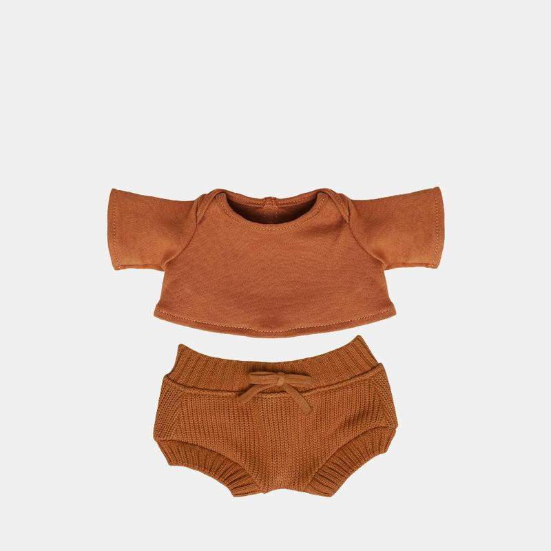 US stockist of Olli Ella's Toffee Snuggly Set.  Features longsleeve top and matching bloomers.