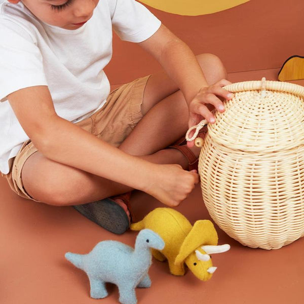 US stockist of Olli Ella's handmade rattan egg basket.  Opens at top and features a handle on top.
